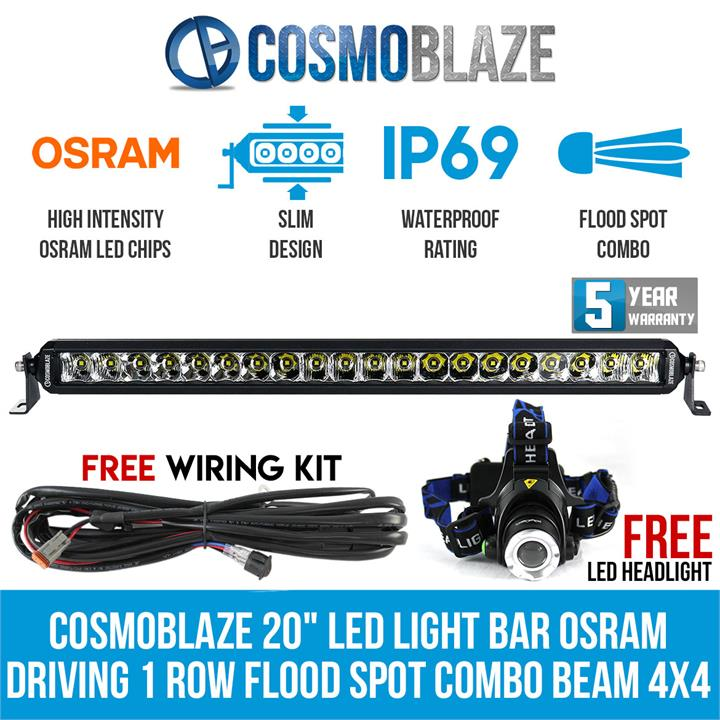 "Image of Cosmoblaze 20"" LED Light Bar Osram Driving 1 Row Flood Spot Combo Beam 4x4 Truck"