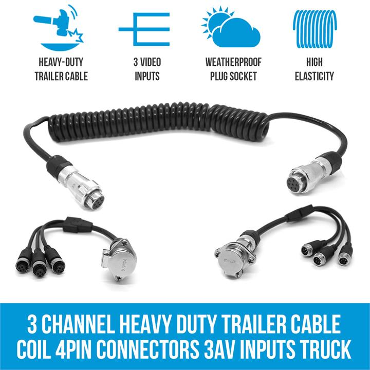 Image of 3 Channel Heavy Duty Trailer Cable Coil 4PIN Connectors Truck Caravan 3 AV Inputs
