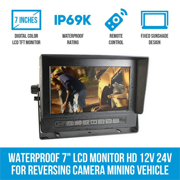 "Image of Waterproof 7"" LCD Monitor HD 12V 24V for Reversing Camera Mining Vehicle Truck"