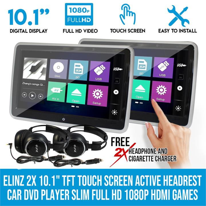 "Image of Elinz 2x 10.1"" TFT Touch Screen Active Headrest Car DVD Player Slim Full HD 1080P Games"