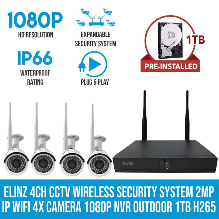 Image of 4CH CCTV Wireless Security System 2MP IP WiFi Camera 4x 1080P NVR Outdoor 1TB H265