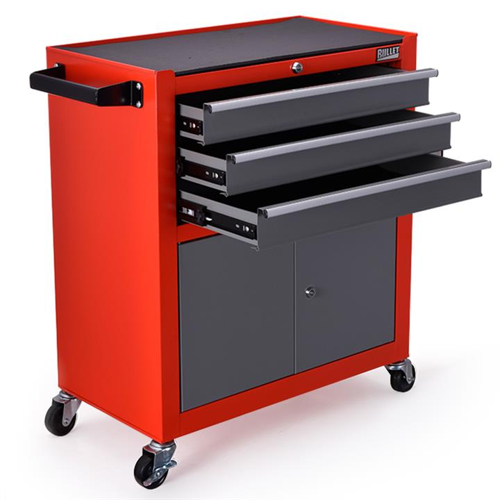 BULLET Steel Rolling Tool Chest Cabinet, with Tubular Cam Locks, Lockable Castors, Pegboard, Red