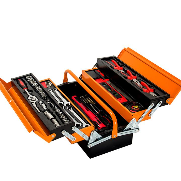 BULLET 118pc Metal Cantilever Tool Kit Box Set with Cordless Screwdriver, Black & Orange