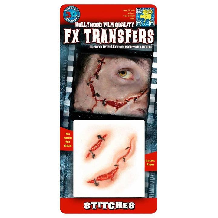 Image of 3D FX Small Stitches Tattoos Halloween Zombie Prop Costume