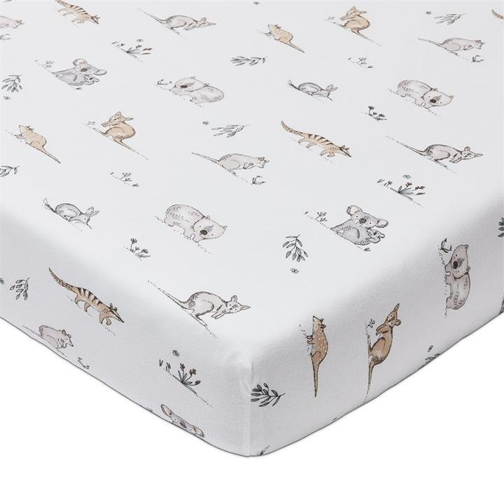 Adairs Baby Bush Babies Jersey Sheets Bassinet Fitted Sheet 2pk - Bush Baby