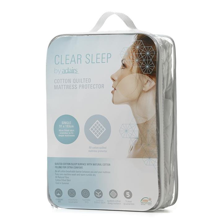 Clear Sleep Cotton Quilted Protector Single Extra Long White By Adairs