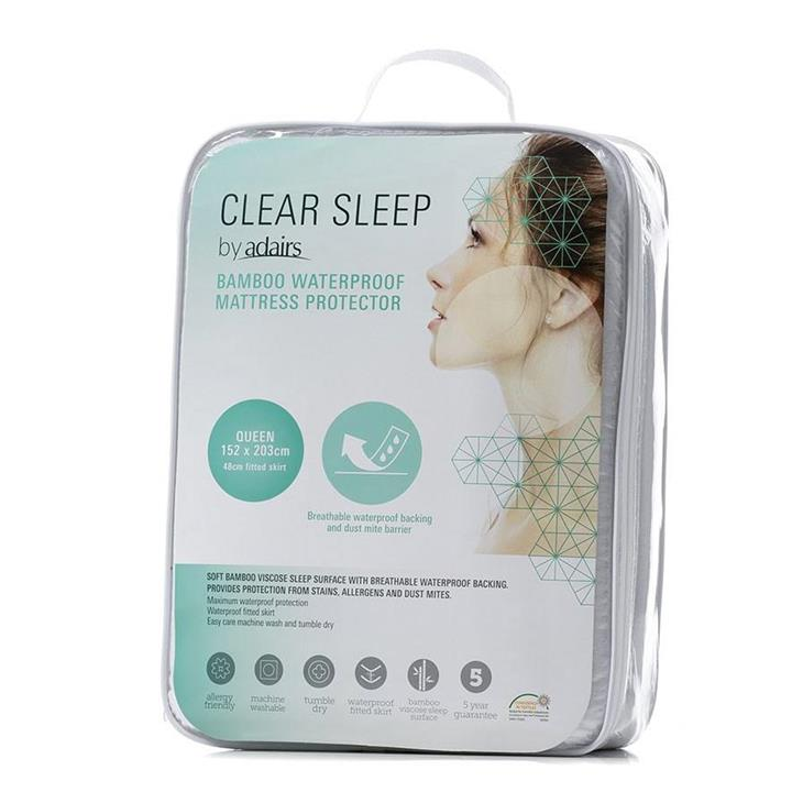 Clear Sleep Bamboo Jersey Waterproof Protector Queen - White By Adairs