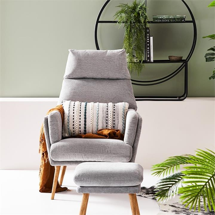 Mercer + Reid Anderson Furniture Collection Grey 1 Seater Chair  Foot Rest