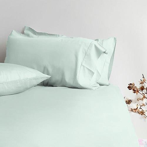 Canningvale Alessia Bamboo Cotton Long Single Fitted Sheet  Single Pillowcase - Gelato Mint
