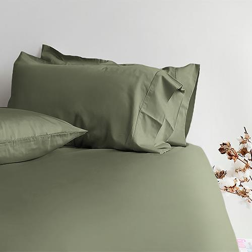Canningvale Alessia Bamboo Cotton Long Single Fitted Sheet  Single Pillowcase - Saggia Green