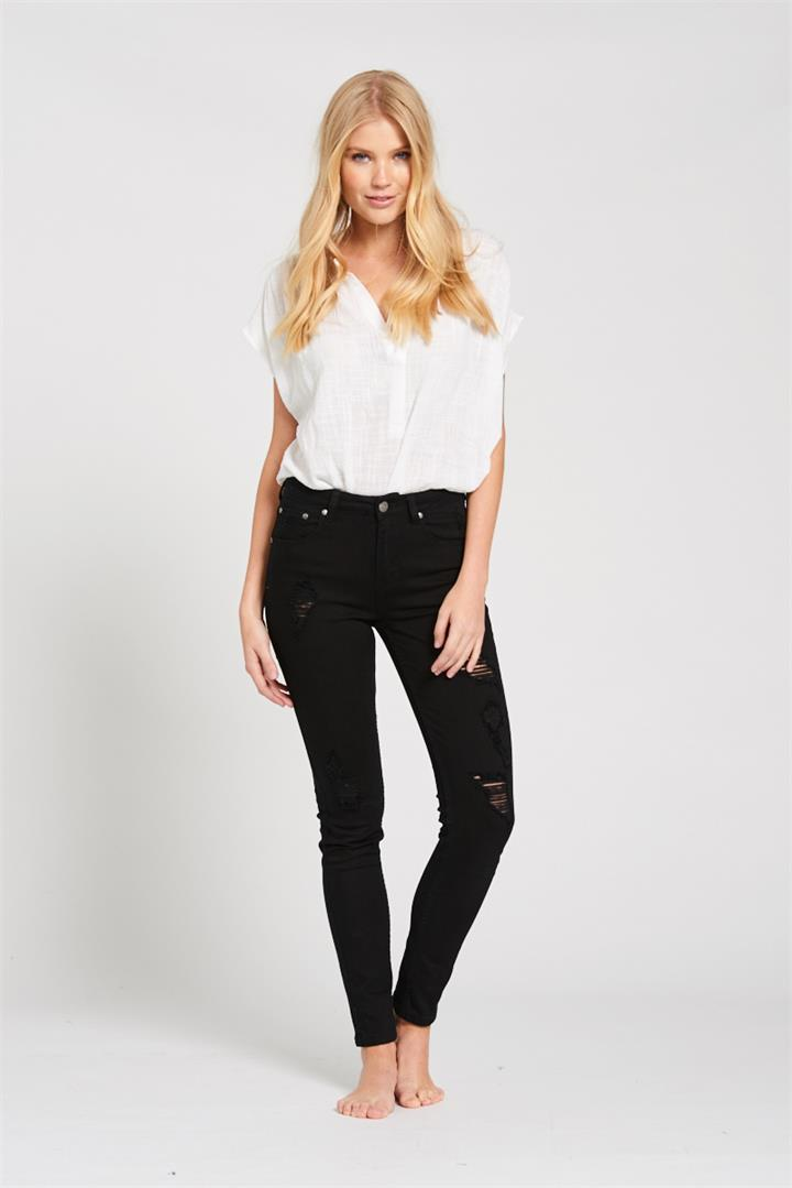 Image of Bohemian Traders Black Distressed Skinny Jean