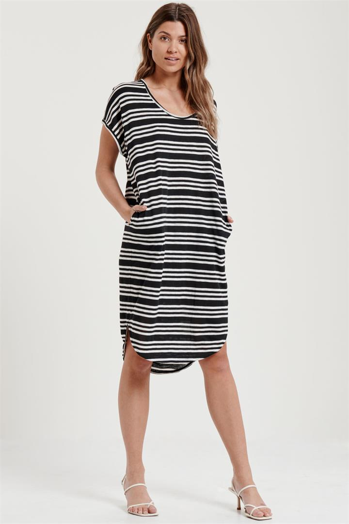 Image of Classic Scoop Neck Dress In Black And White Stripe