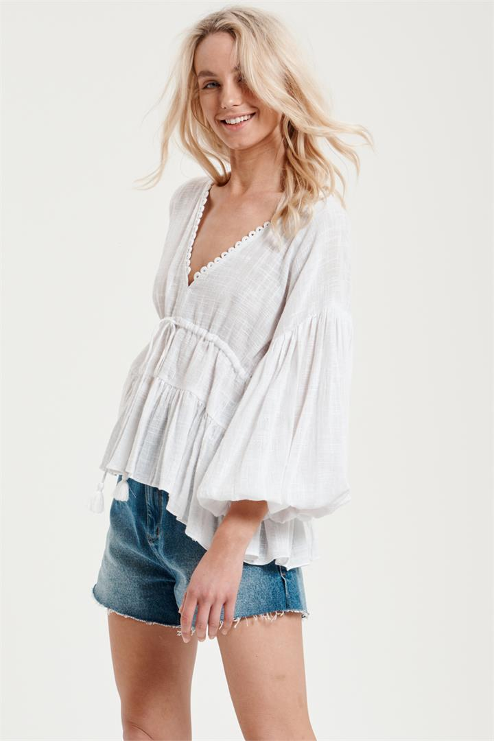 Image of Billow Sleeve Top in White