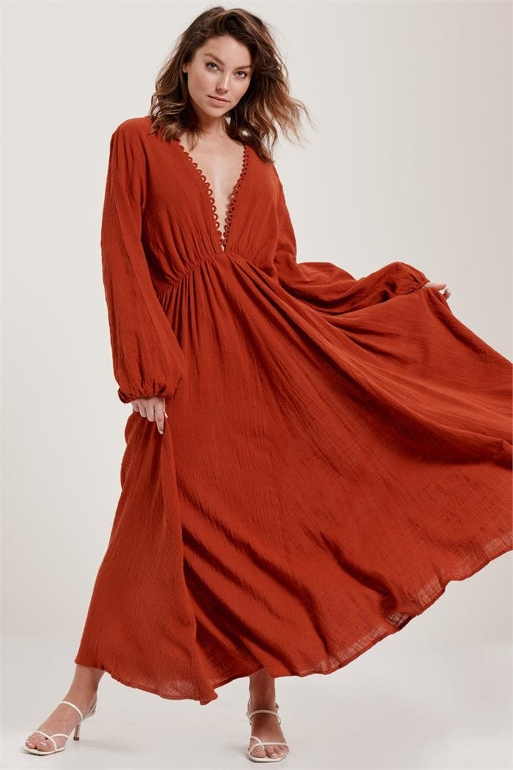Image of Backless Maxi in Russet