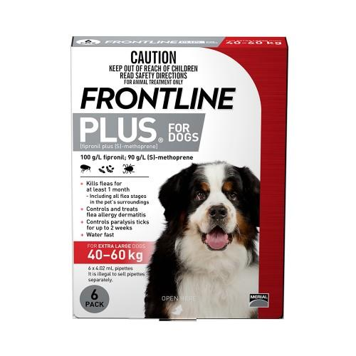 Frontline Plus Extra Large 40-60kg Red 6 pack