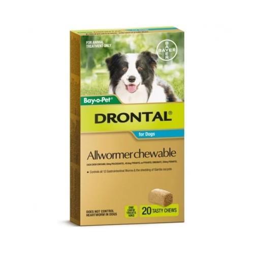 Drontal Allwormer Chew Medium 10kg 20 pack
