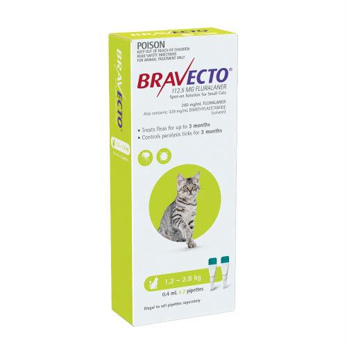 Bravecto Cat Small 1.2-2.8kg Green Spot On Treatment 2 pack