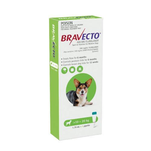 Bravecto Medium 10-20kg Green Spot On Treatment 1 pack