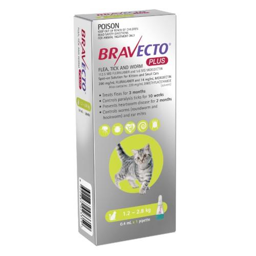 Bravecto Plus Kittens and Small Cats 1.2-2.8kg Green 1 pack