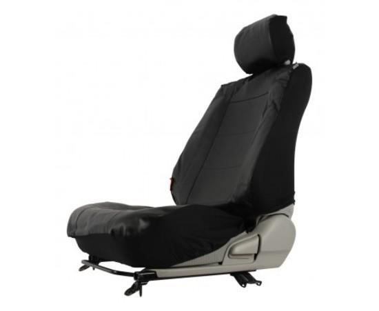 Image of Custom Made Leather Look Black Car Seat Covers Nissan Navara D22 Dual Cab 04/1997-5/2015 Front + Rear