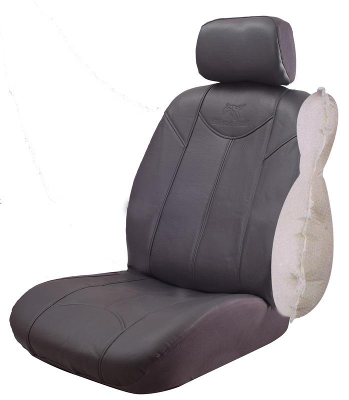Image of Black Bull Leather Look Seat Covers Airbag Deploy Safe - Grey Size 30