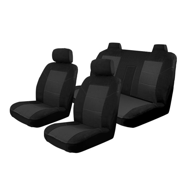 Image of Black - Esteem Velour Seat Covers Set Suits Nissan Maxima TI/M/EXEC 4 Door Sedan 1990-1995 2 Rows