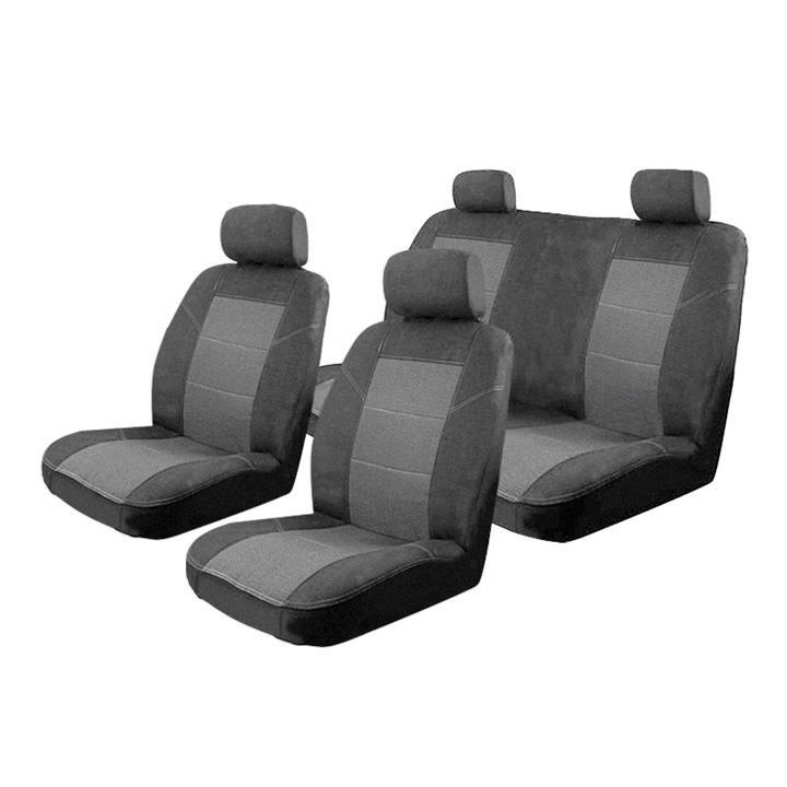 Image of Charcoal - Esteem Velour Seat Covers Set Suits Peugeot 306 Convertible 1999-2002 2 Rows