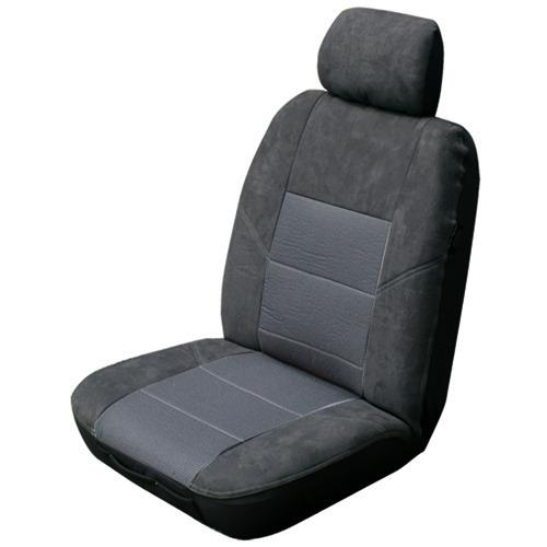 Image of Charcoal - Esteem Velour Seat Covers Set Suits Ssangyong Actyon Sport SPR Ute 2008 2 Rows