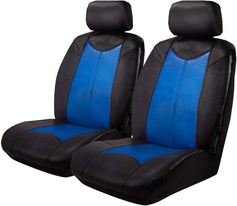 Image of Black Bull Leather Look Seat Covers Airbag Deploy Safe Black/Blue One Pair Size 30