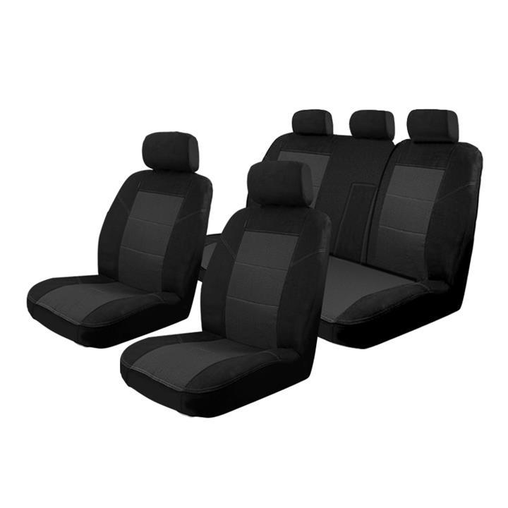 Image of Black - Esteem Velour Seat Covers Set Suits Toyota Rukus 4 Door Wagon 05/2010-On 2 Rows