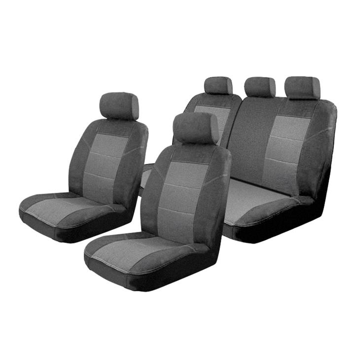 Image of Seat Covers Set Suits Nissan Qashqai J11 ST 6/2014-On 2 Rows [Colour: Charcoal]