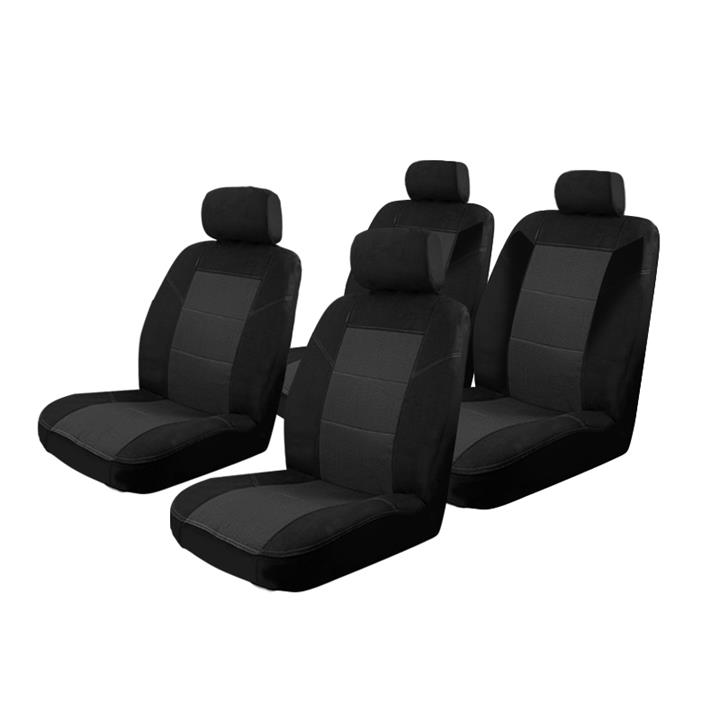 Image of Black - Esteem Velour Seat Covers Set Suits Volkswagen Crafter Dual Cab Van 2010 2 Rows