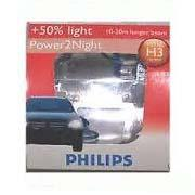Image of Philips H3 12V Halogen Globe Bulb +60% More Light Powervision One Pair 12336WVS2
