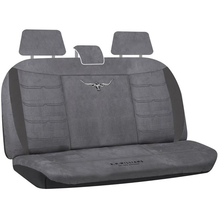 Image of RM Williams Longhorn Charcoal Grey Suede Velour Car 4wd Rear Seat Cover Size 06 Rmw