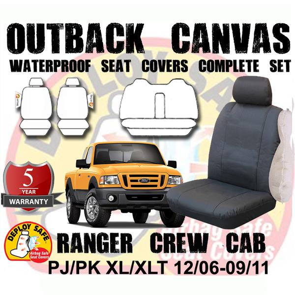Image of Canvas Seat Covers Ford Ranger PJ PK 12/2006- 9/2011 Air Bag Deploy Safe 5 Year Warranty Dual Cab