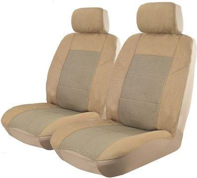 Image of Beige - Esteem Velour Front Seat Covers Pair Airbag Deploy Safe
