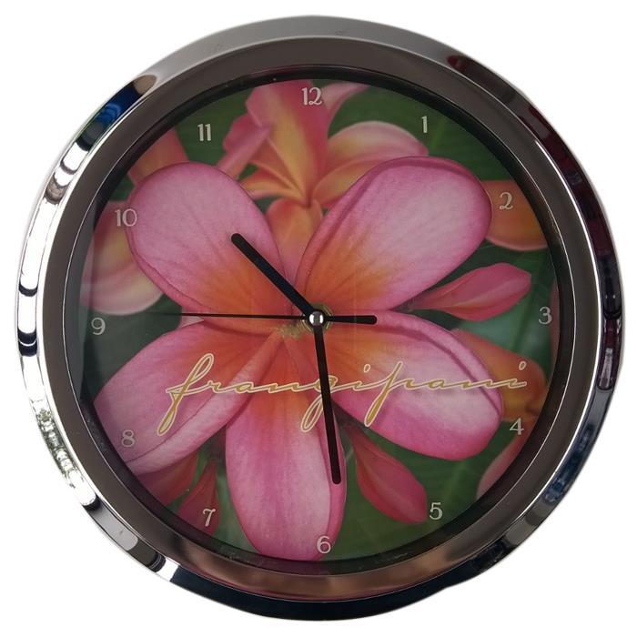 Image of Frangipani Flower Analog 10 Inch Quartz Wall Clock Pink