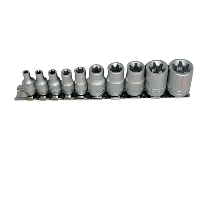 Image of Teng Tools - 10 Piece 1/4 inch and 3/8 inch Drive TX-E Sockets on Clip Rail M3814