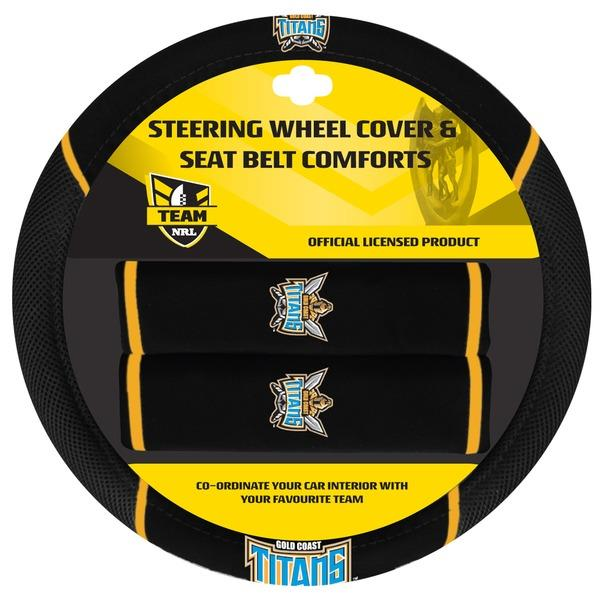 Image of Gold Coast Titans NRL Steering Wheel Cover