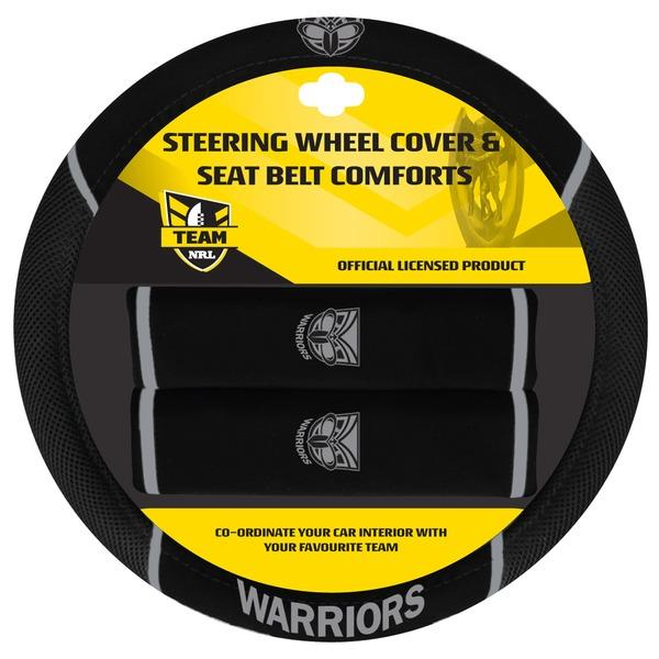Image of Auckland Warriors NRL Steering Wheel Cover With Seat Belt Pads