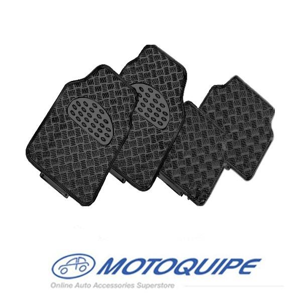Image of Checkered Plate Car Floor Mats Metallic Colour Black Checker