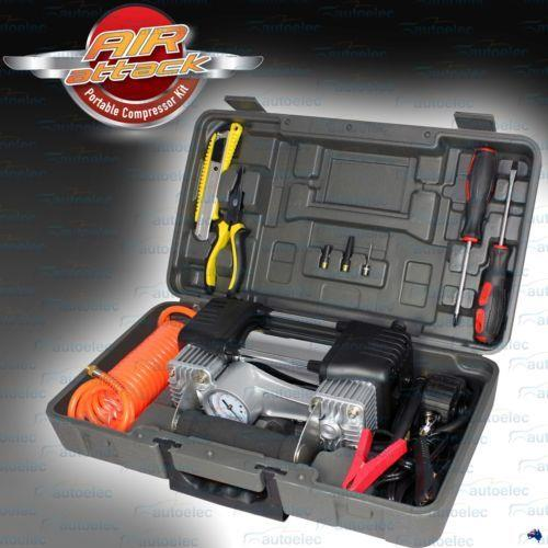 Image of Air Compressor AIR ATTACK Dual Metal Cylinder & Tool Kit AA150