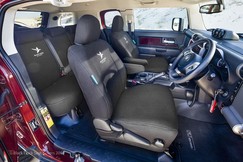 Image of Black Duck Canvas Black Seat Covers Toyota Hilux Workmate 7/2011-6/2015