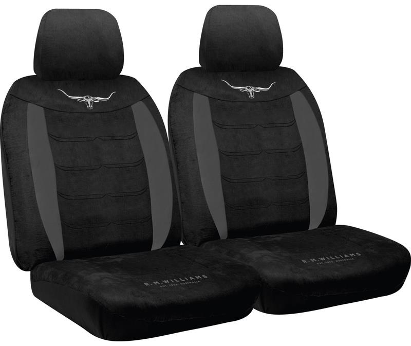 Image of RM Williams Longhorn Black Suede Velour Seat Covers RMW [Size: 30] Airbag Safe