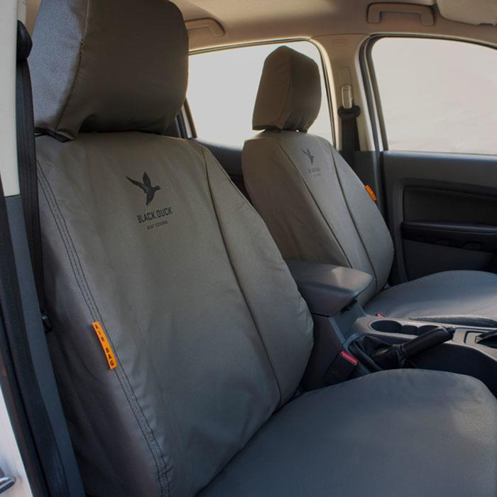 Image of Black Duck Canvas Seat Covers ISRI 6860 with Standard Seat Base Cushion Grey