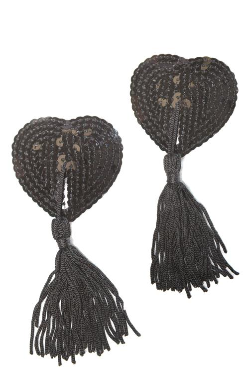 Coquette Black Sequin Heart Pasties with Tassels