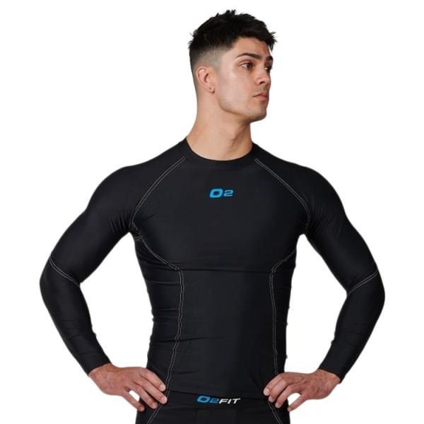 o2fit Mens Compression Long Sleeve Top - Black