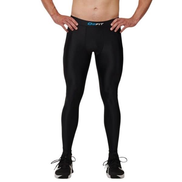 o2fit Mens Compression Pants with Zip Pocket - Black