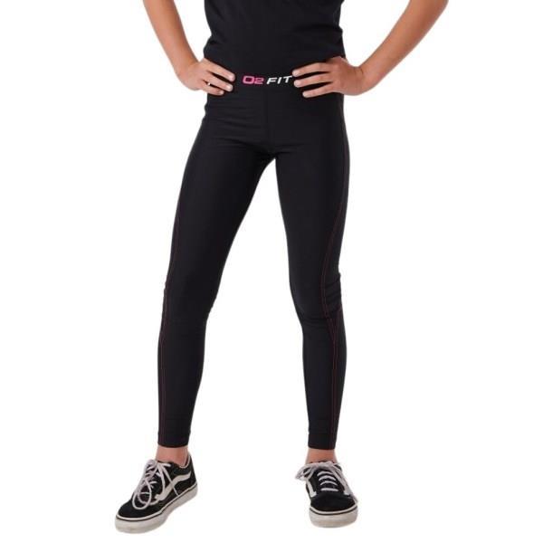 o2fit Kids Girls Compression Tights - Black/Pink