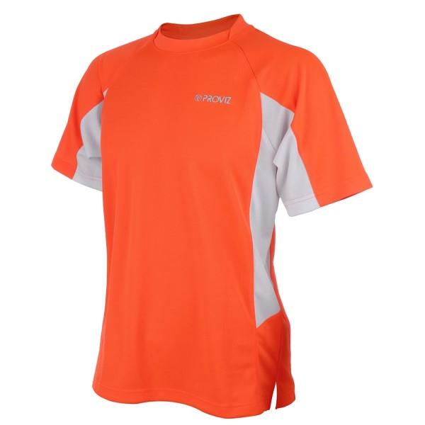 Proviz Active Hi-Vis Mens Running T-Shirt - Orange/White
